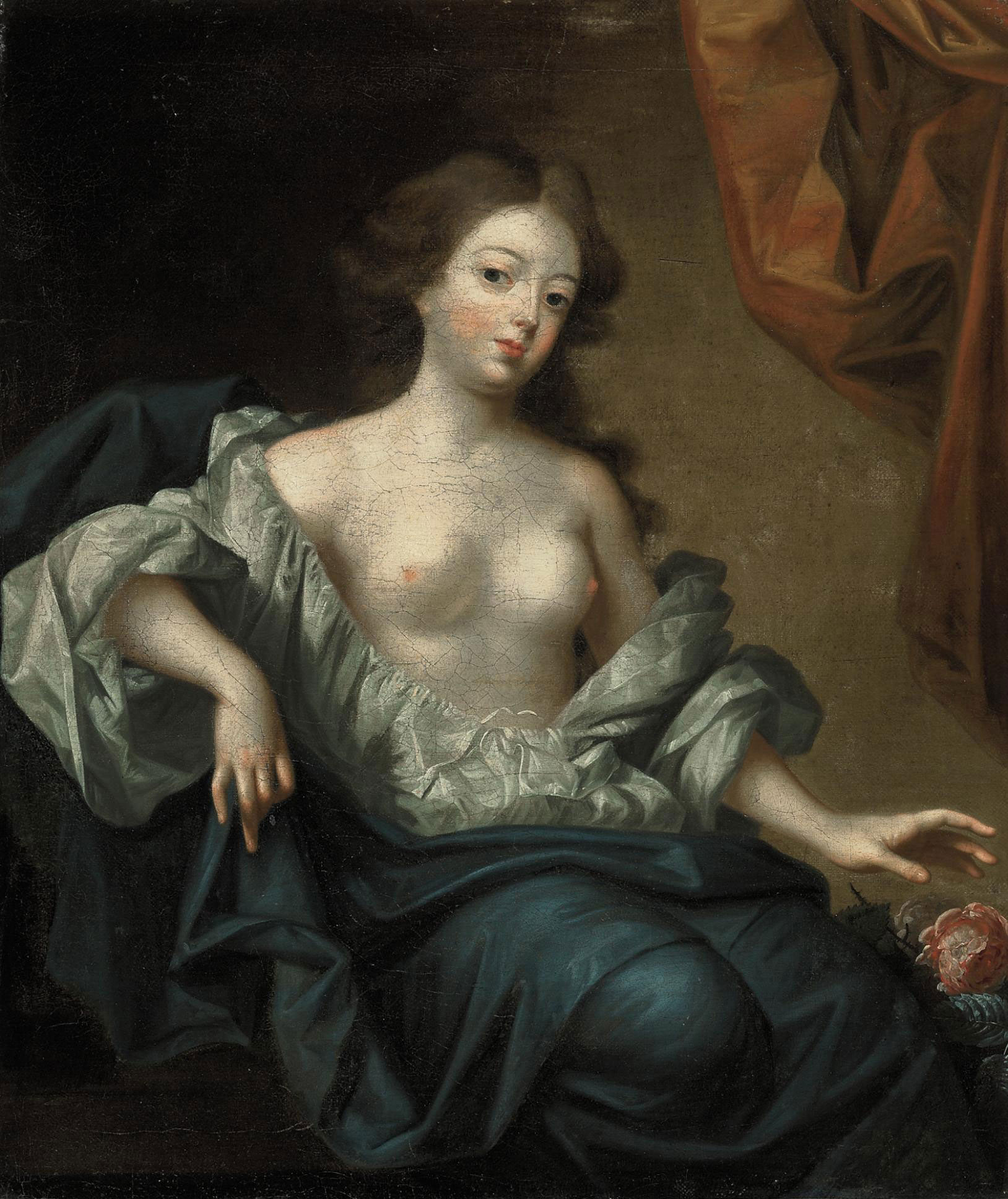 Portrait of Nell Gwyn (1650-1687), actress and mistress of King Charles II of England, three-quarter-length, seated, in a white chemise and a blue mantle, with a flowermantle, with a flower