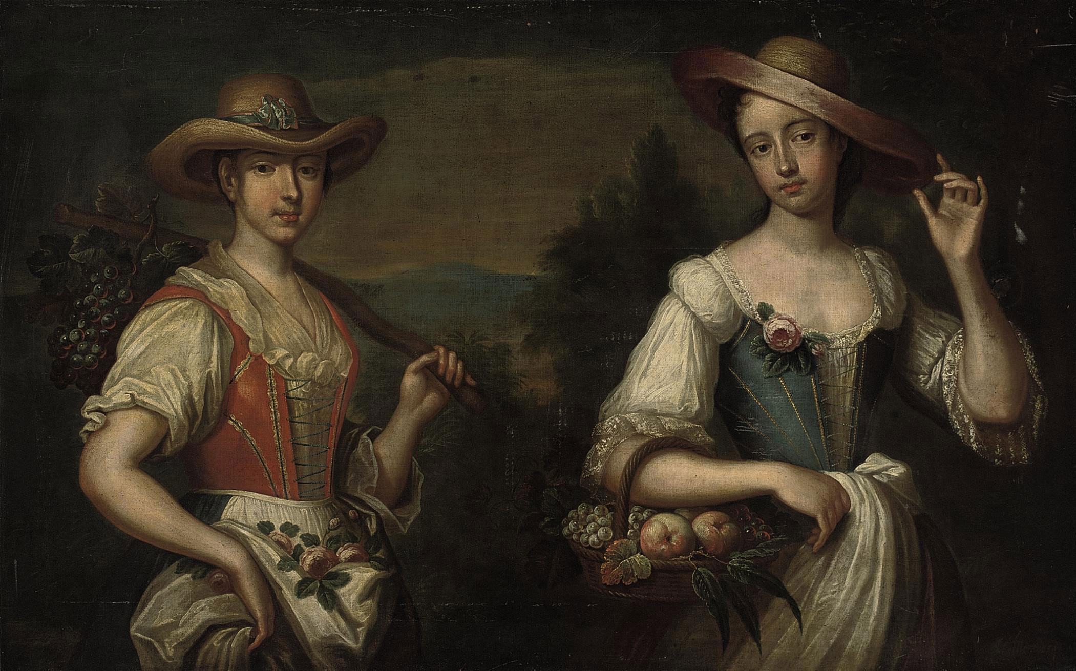 Portrait of two ladies, half-length, as shepherdesses in a landscape
