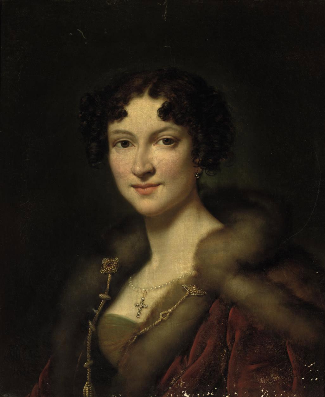 Portrait of Henriette Louise Peterson (1796-1845), wife of Auguste, Baron du Bois de Ferrières, bust-length, in a fur-trimmed red mantle and jewels