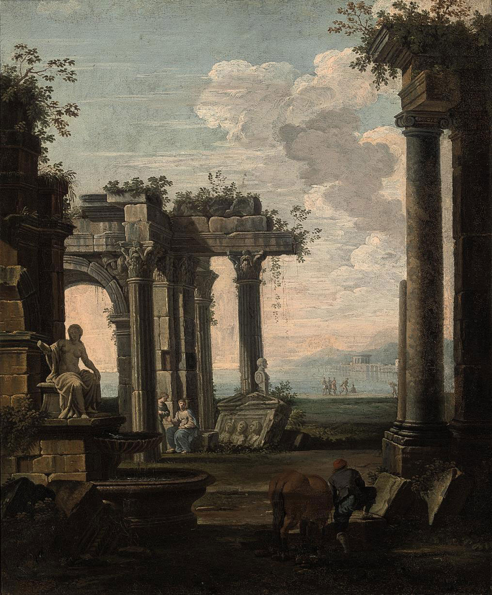 A peasant watering his horse amongst classical ruins