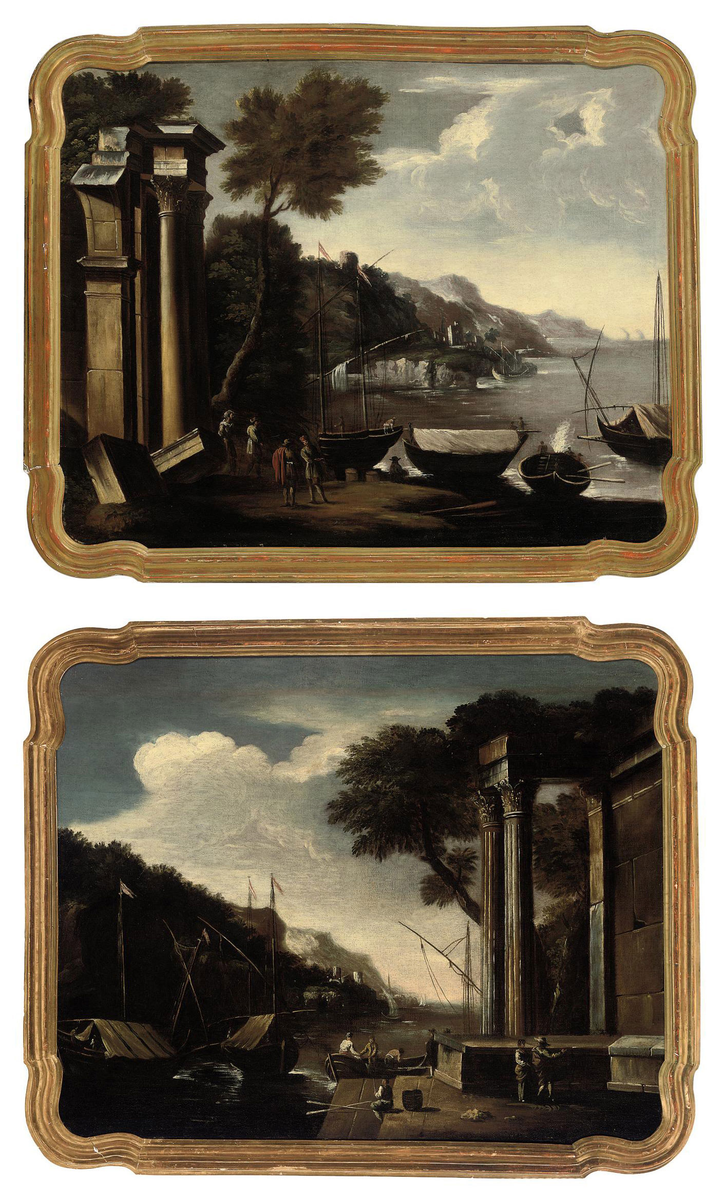 A capriccio of classical ruins near the coast with figures conversing in the foreground; and A capriccio of classical ruins near the coast with figures on a boat and a man fishing