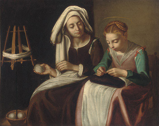 The Madonna sewing with Saint Anne winding yarn