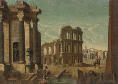 Landscape with antique ruins a