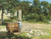 A child playing at a water pump
