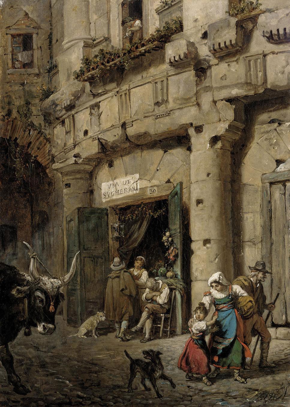 Selling vegetables on the Via de Sugherari, Rome