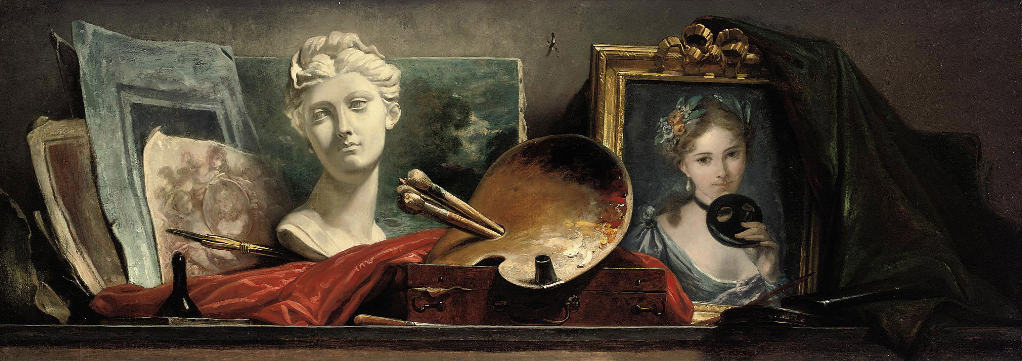 A trompe-l'oeil still life of a portrait of a young lady holding a mask, a sculpted marble bust, a palette with paints and brushes, a leather paintbox and other unfinished sketches and canvasses on a long work table.