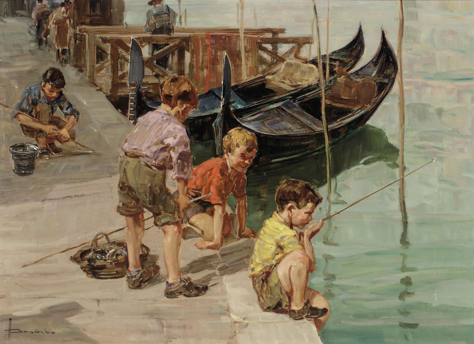 Fishing on a Venetian canal