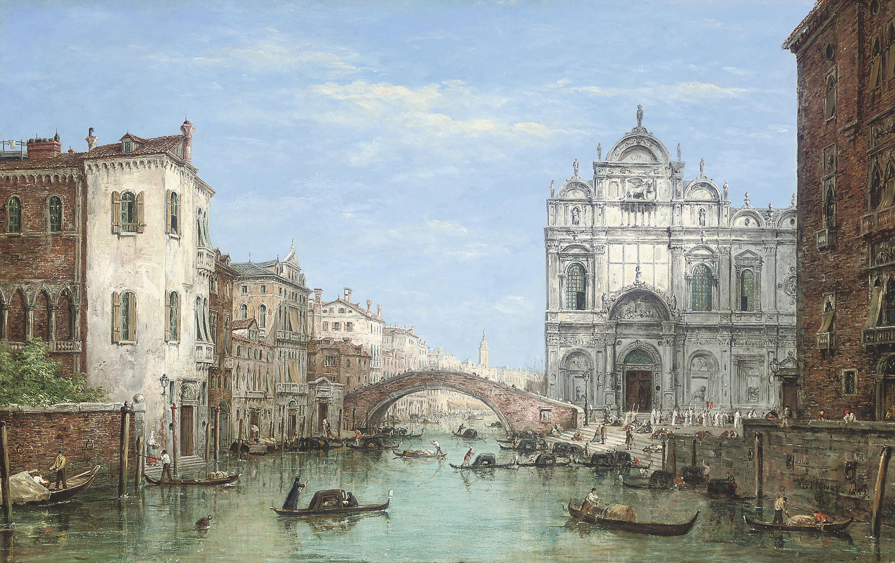 Gondolas before the Campo san Zanipolo, Venice