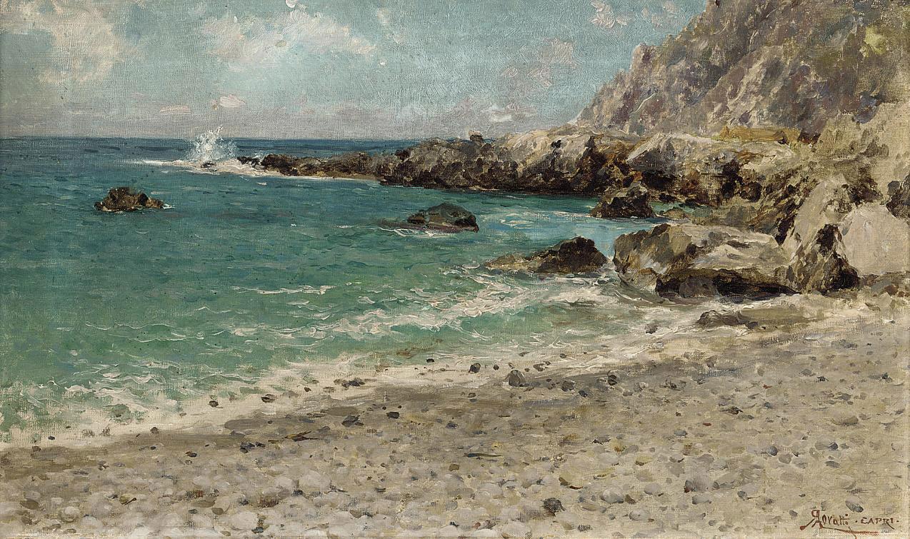 Breaking waves on the Capri coast
