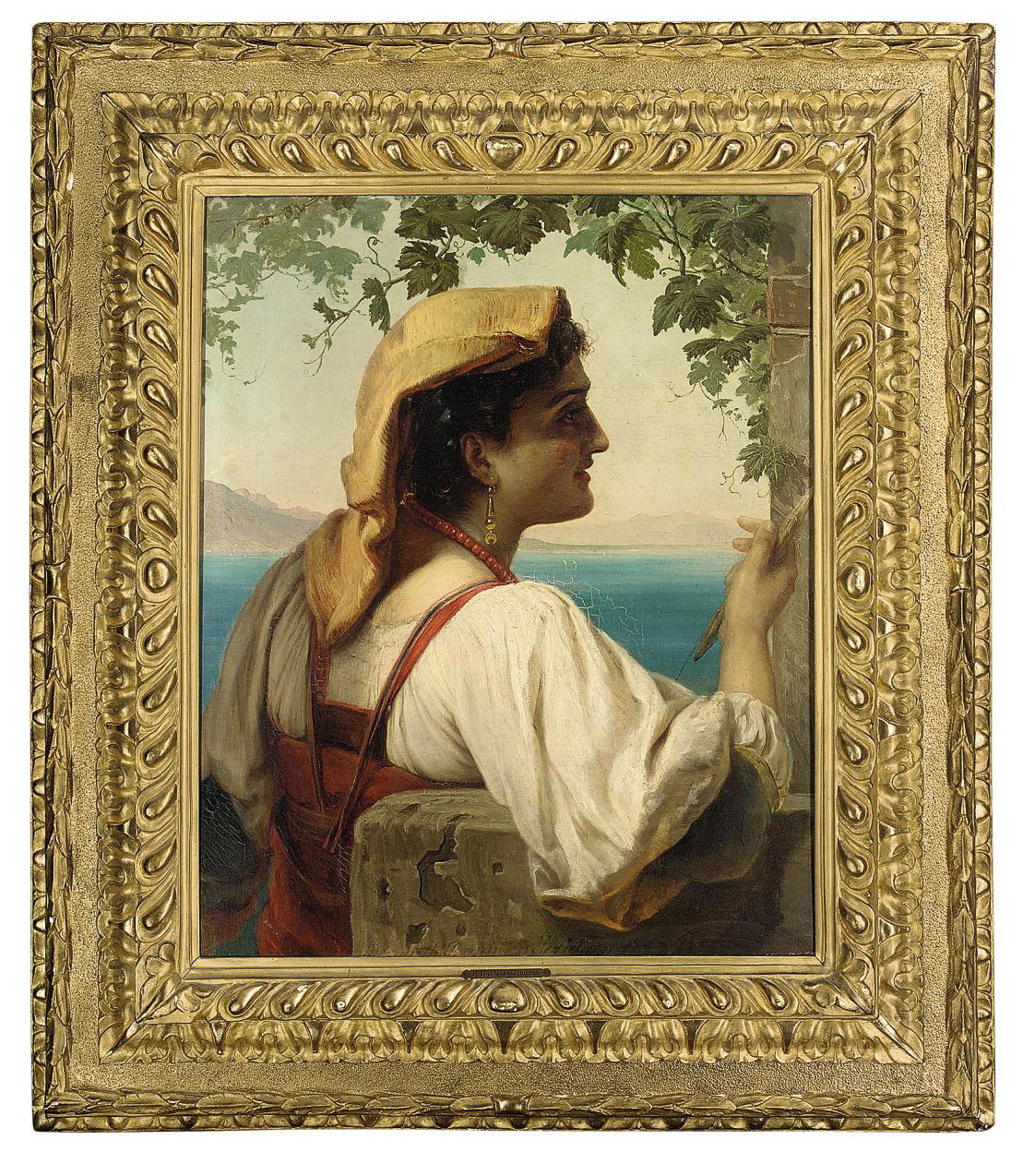 An Italian maiden mending nets on the Bay of Naples, Vesuvius beyond