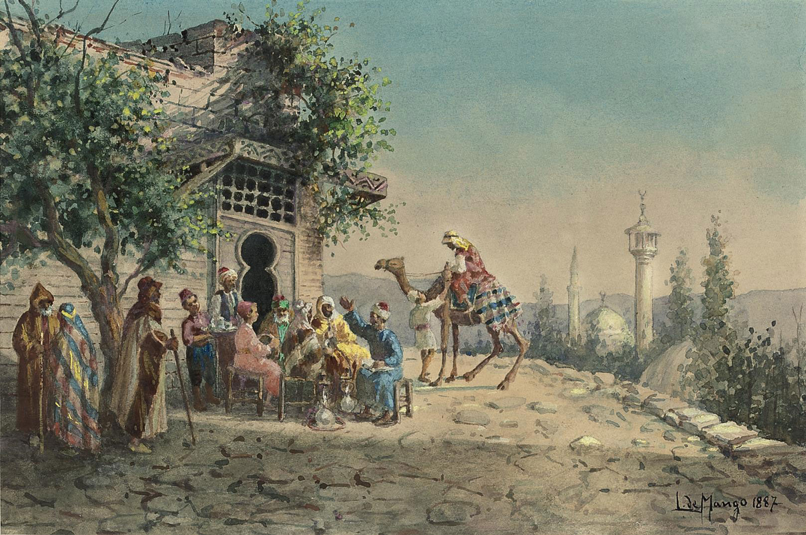 An Arab gathering before a mosque