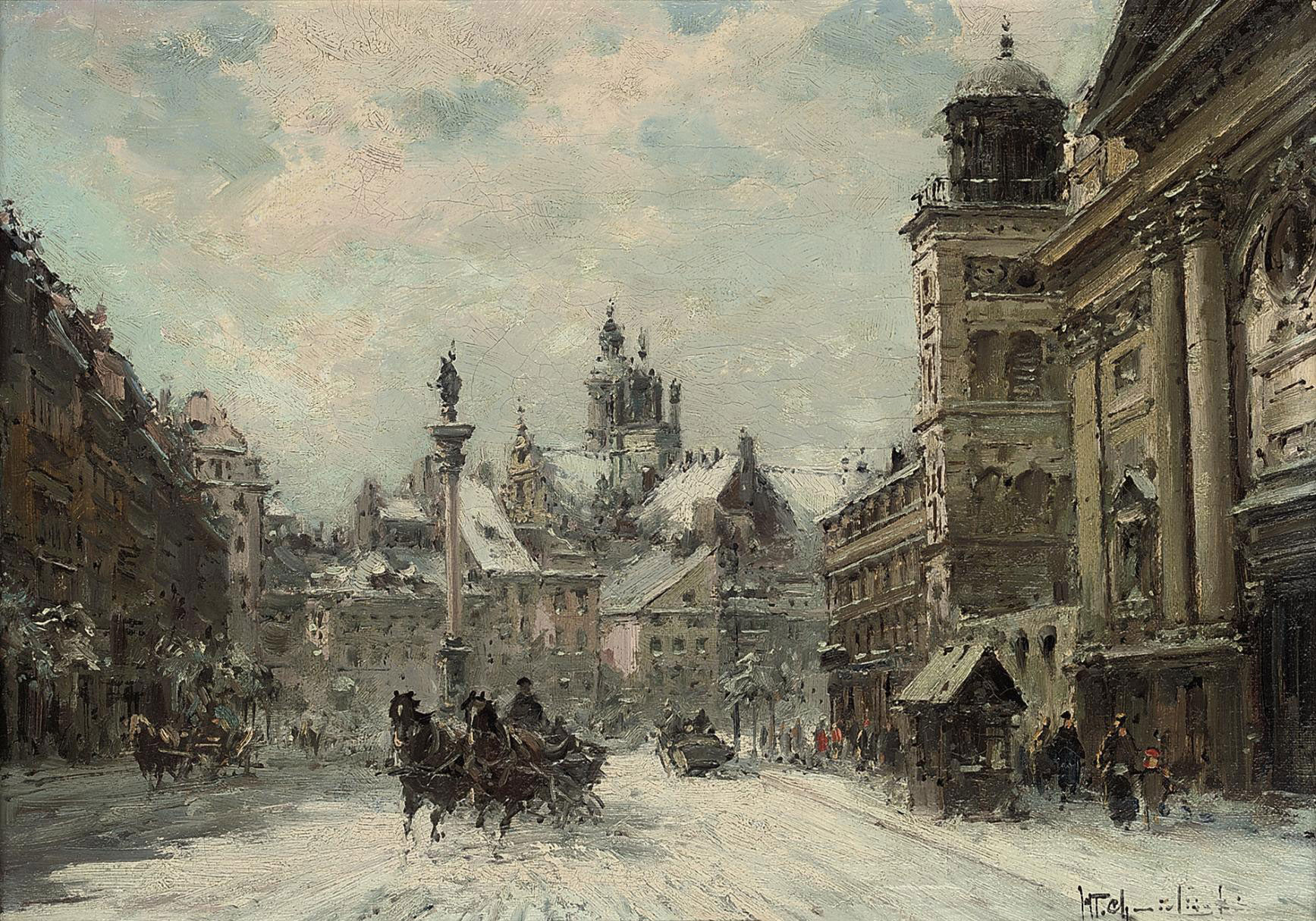 Troikas running through the snow before the statue of King Sigismund, Castle Square, Warsaw