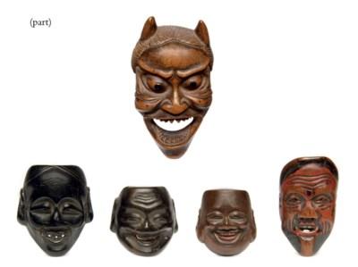 Thirteen Wood Mask Netsuke