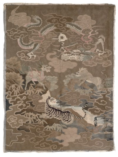 A COUCHED SILK EMBROIDERED HAN