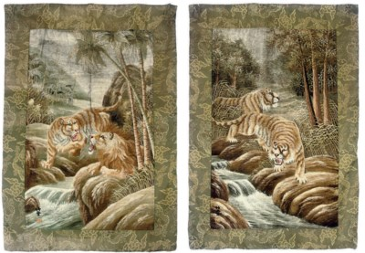 A PAIR OF EMBROIDERED HANGINGS