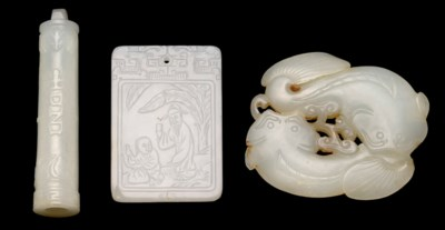 THREE JADE CARVINGS