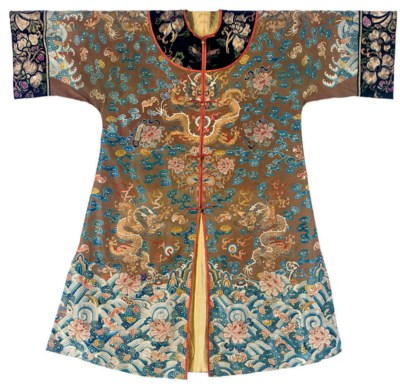 A BROWN SILK ROBE