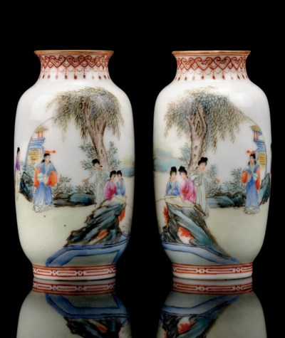 A PAIR OF MINIATURE OVOID VASE