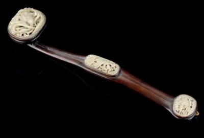 A CELADON JADE AND WOOD RUYI-S