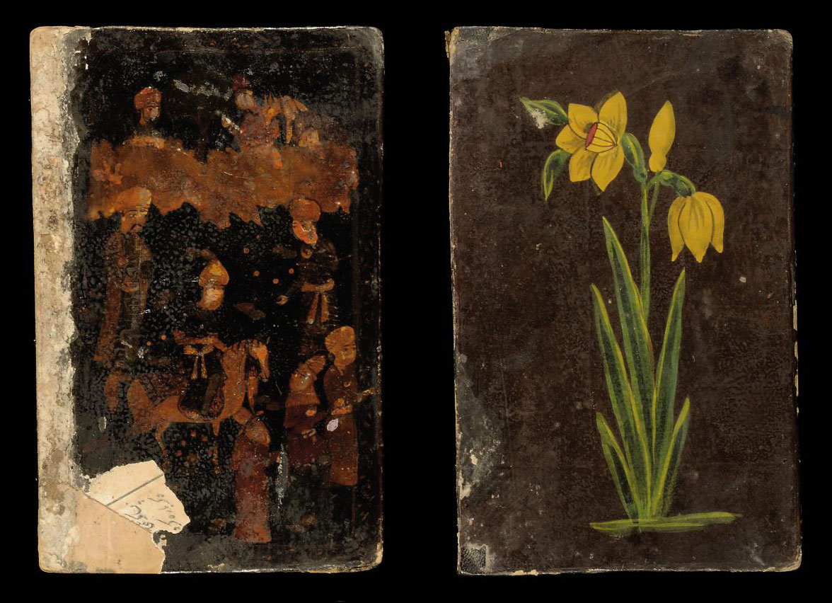 A PAIR OF LACQUER BOOK COVERS,