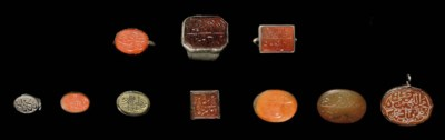 A GROUP OF ENGRAVED CARNELIAN