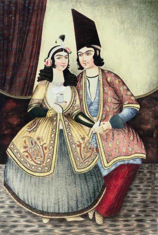 A PAINTING OF A QAJAR COUPLE,