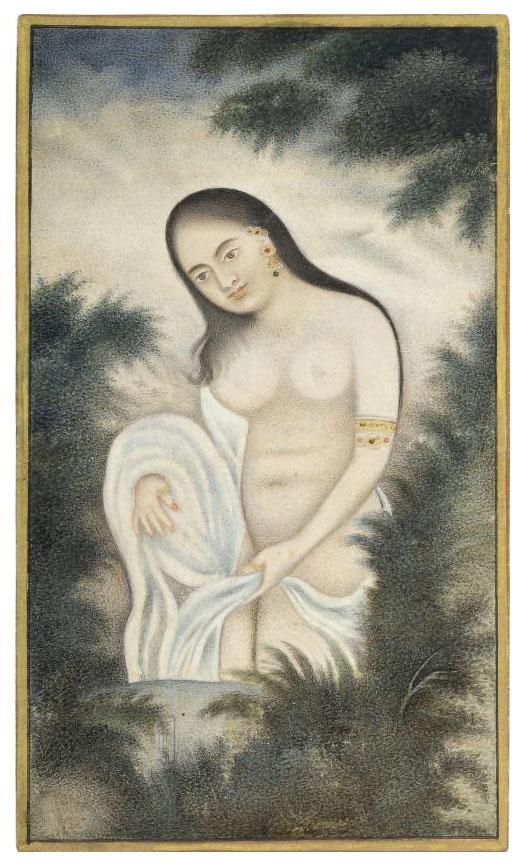 A LADY WASHING, LUCKNOW, CIRCA
