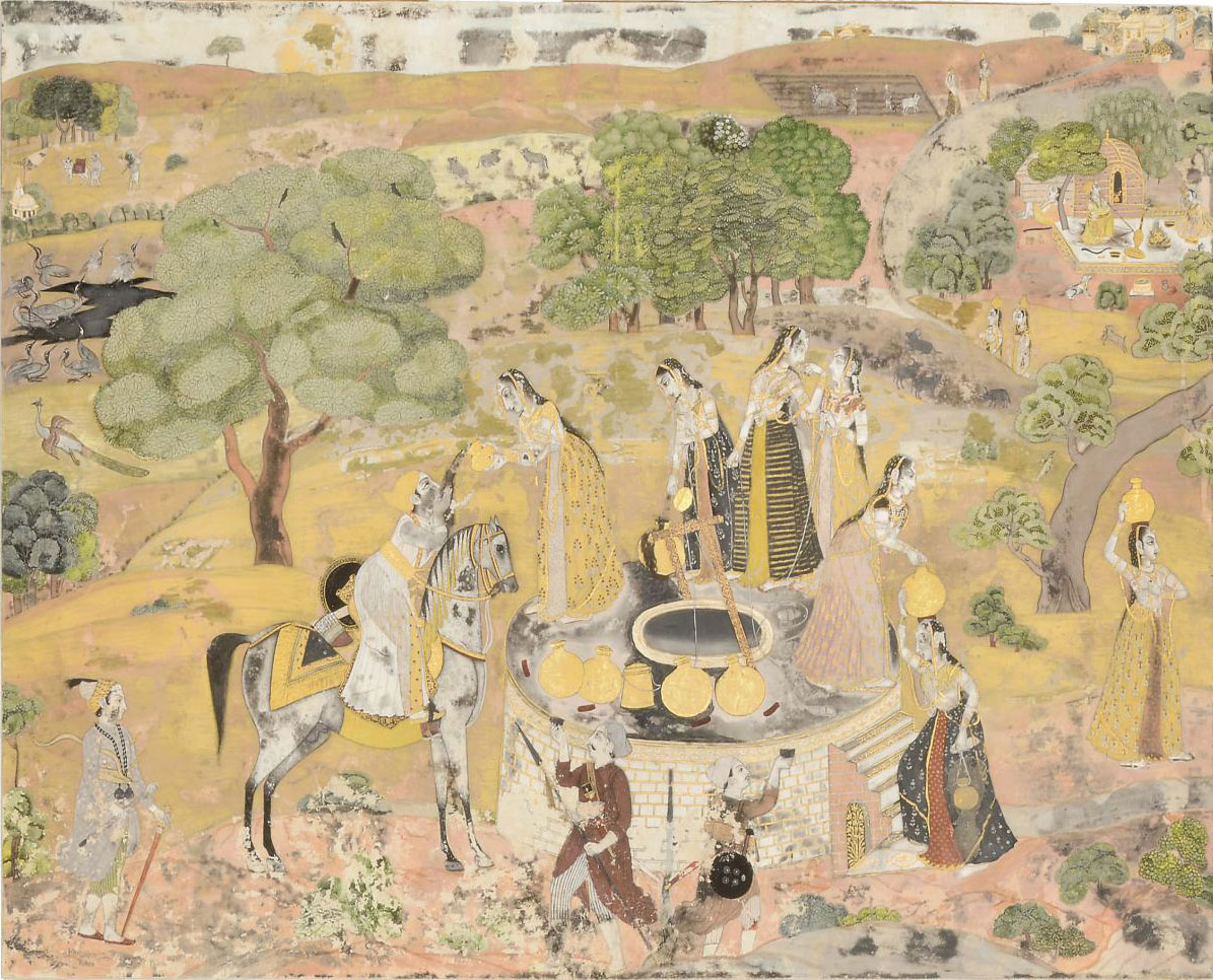 WOMEN AT A WELL, KISHANGAR, 18TH CENTURY