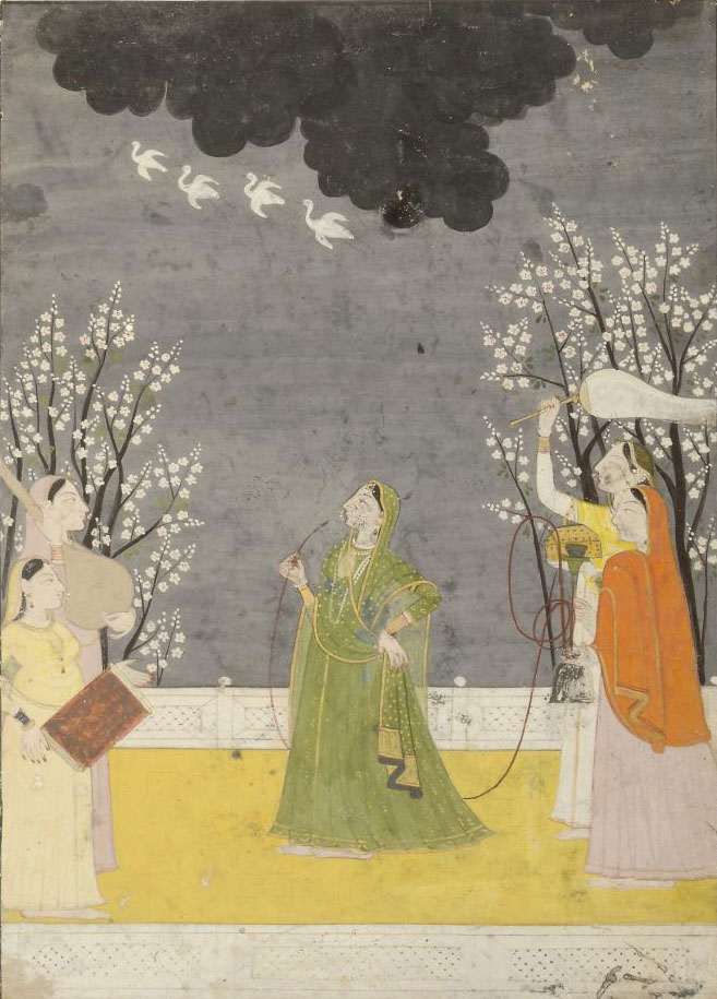 A WOMAN SMOKING ON THE TERRACE WITH ATTENDANTS, GULER, CIRCA 1820