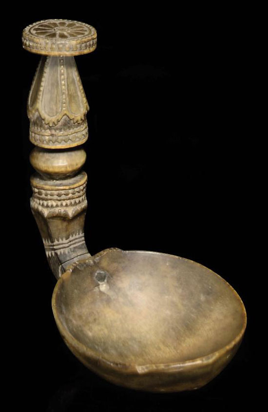 A RHINO HORN SPOON, POSSIBLY C