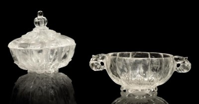 TWO ROCK CRYSTAL BOWLS, INDIA,