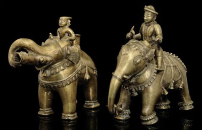 TWO BRASS MODELS OF ELEPHANT A