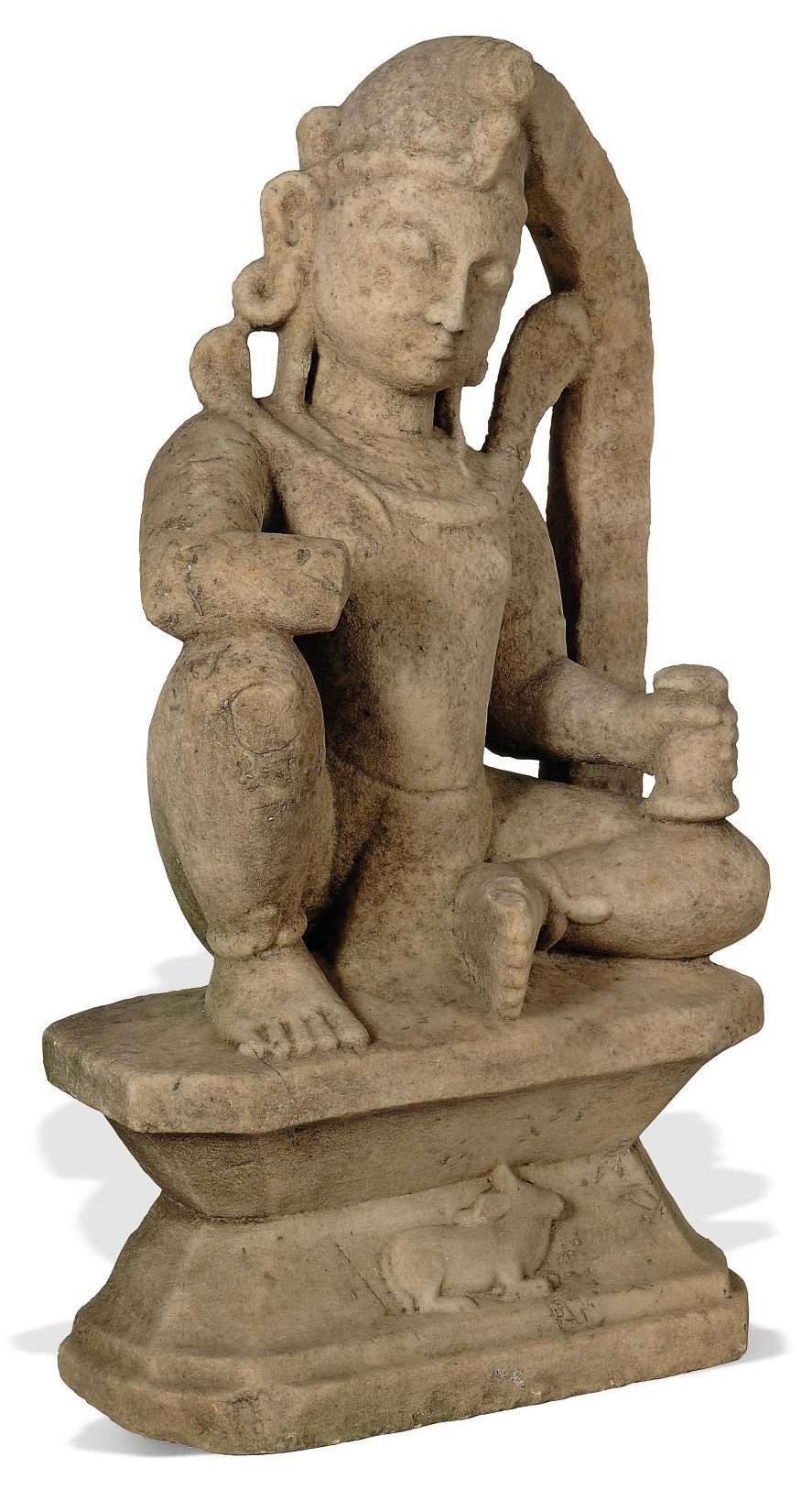 A MARBLE SCULPTURE OF SIVA, RA