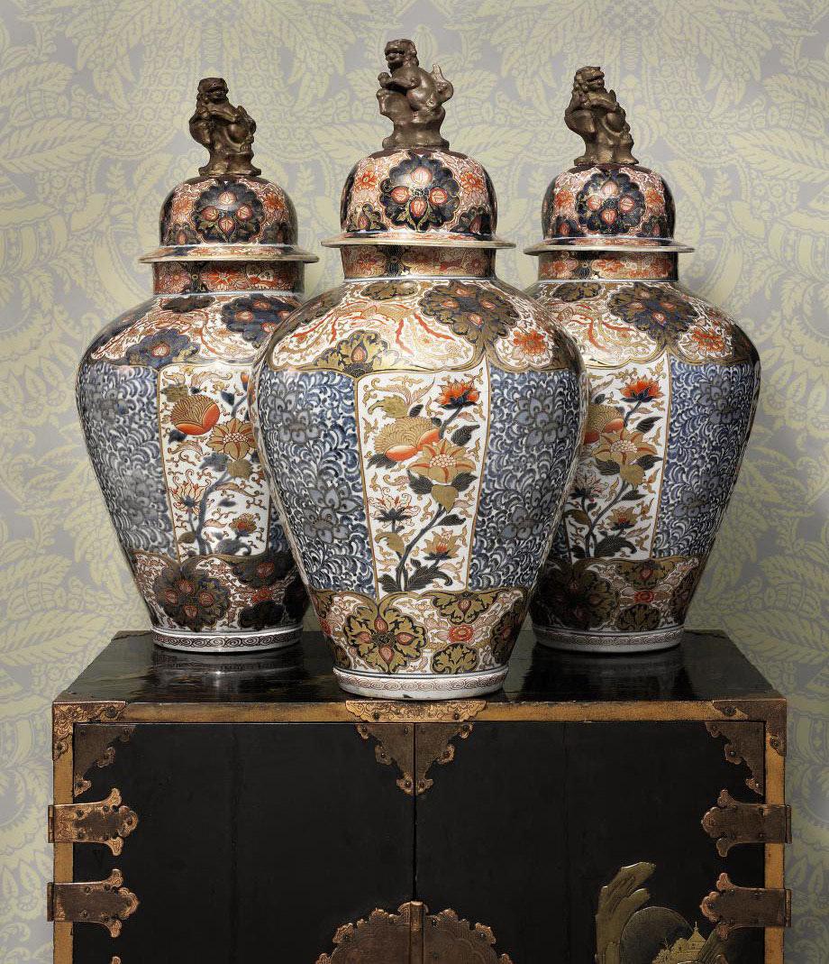 Three Imari Vases and Covers