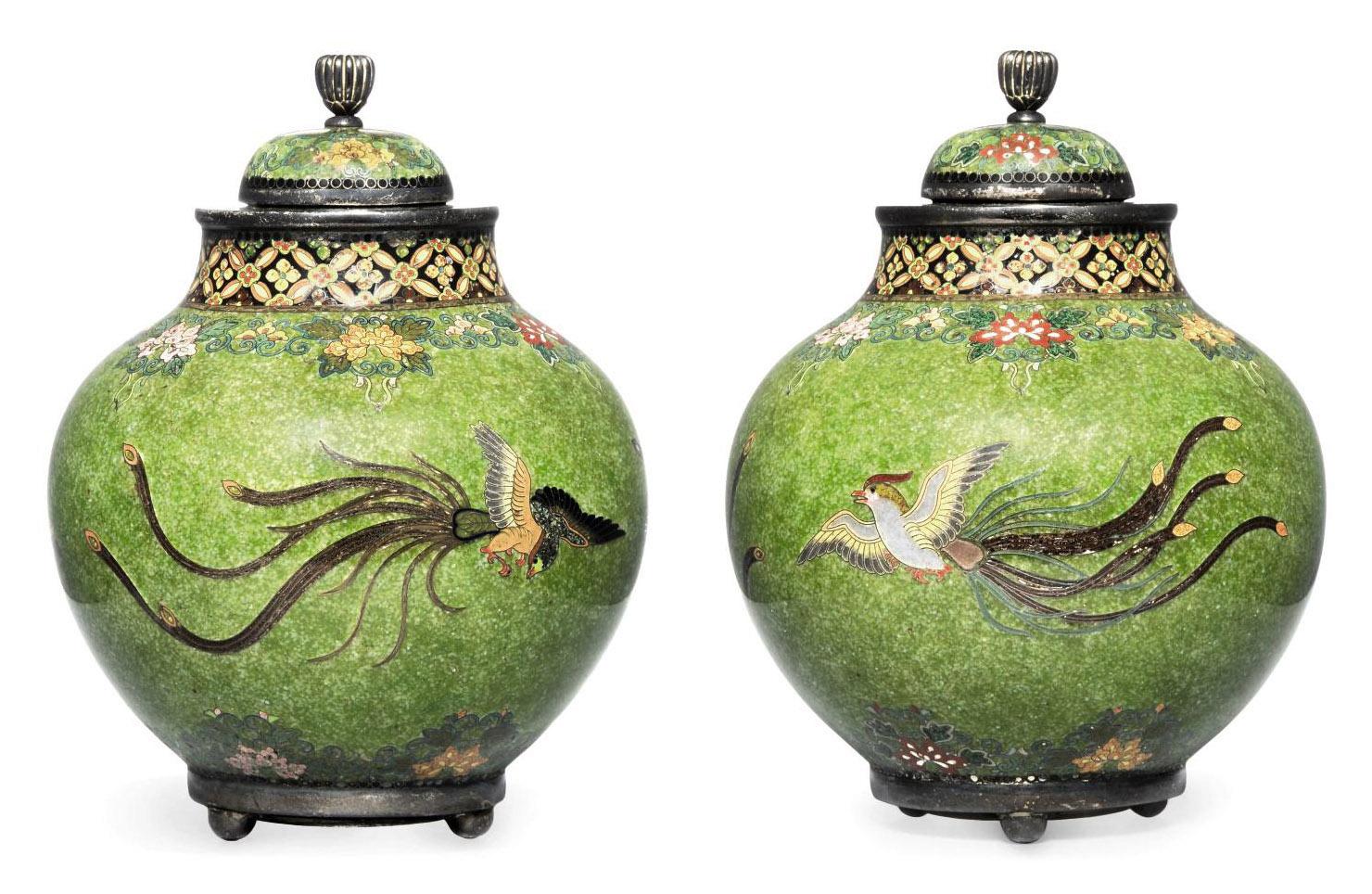 A Pair of Cloisonné Vases