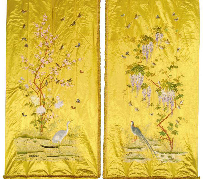 A PAIR OF CANARY YELLOW SATIN HANGINGS