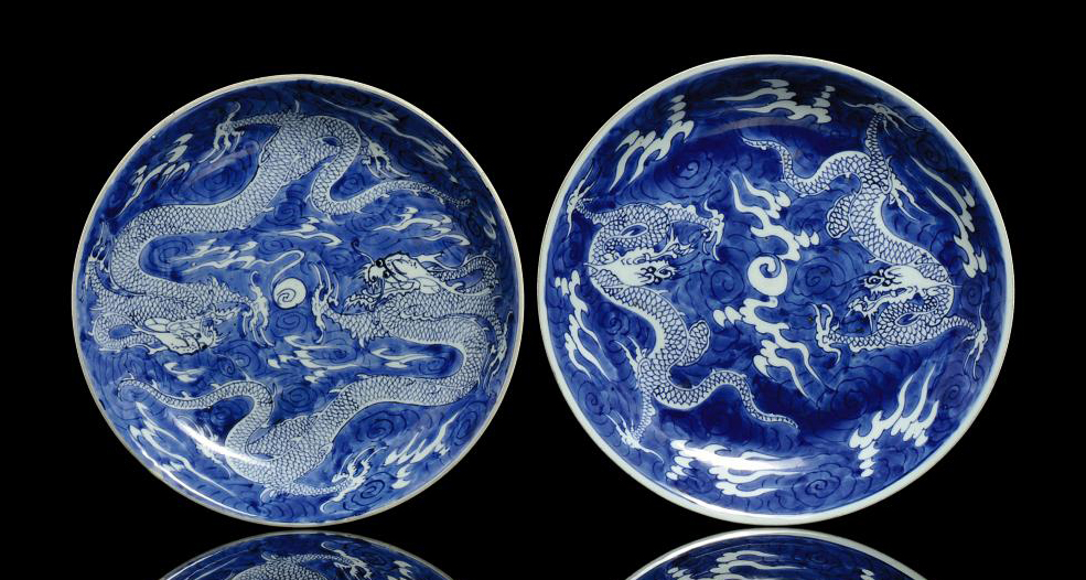TWO SIMILAR BLUE AND WHITE DRA