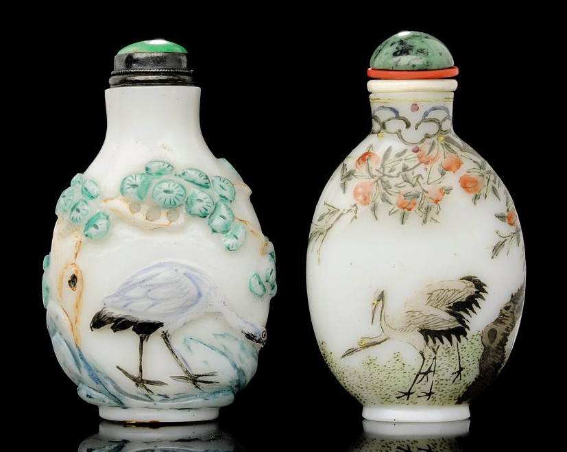 TWO PAINTED GLASS SNUFF BOTTLE