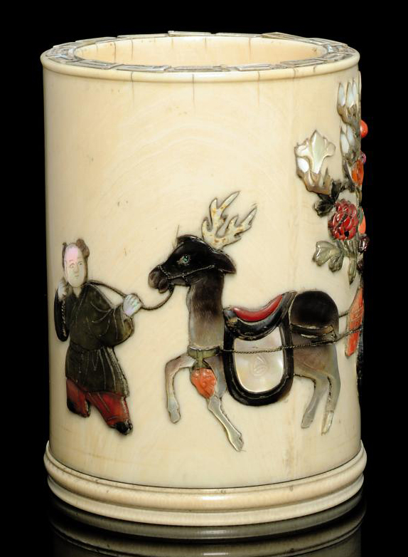 AN INLAID IVORY BRUSHPOT