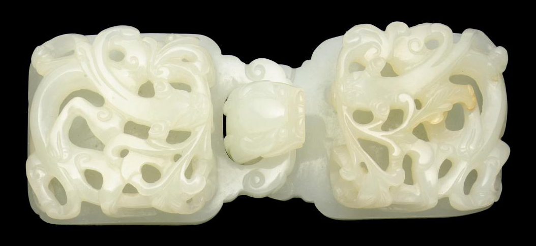 A WHITE JADE TWIN-SECTIONED BELT BUCKLE