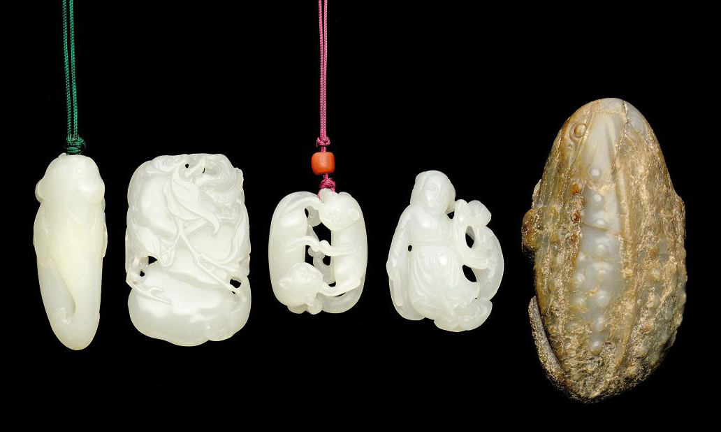 FOUR WHITE JADE CARVINGS