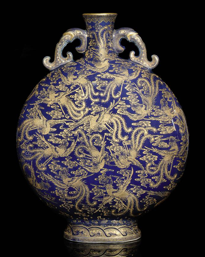 A COBALT BLUE GLAZE GILT-DECOR