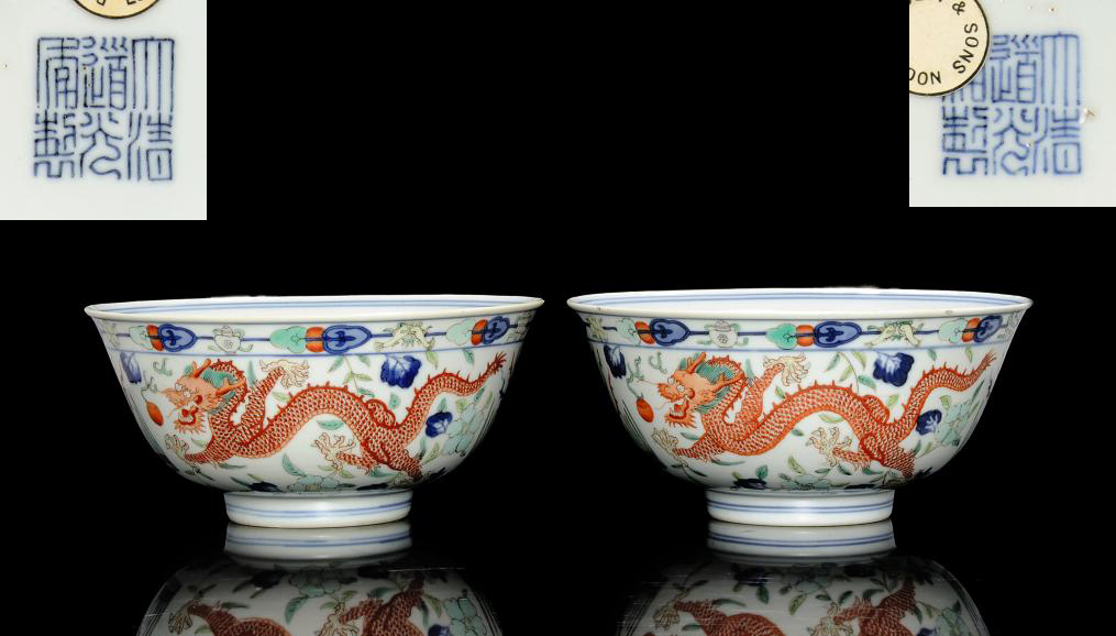A PAIR OF WUCAI DRAGON AND PHO