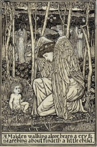 A Maiden walking alone hears a cry and searching about findeth a little child