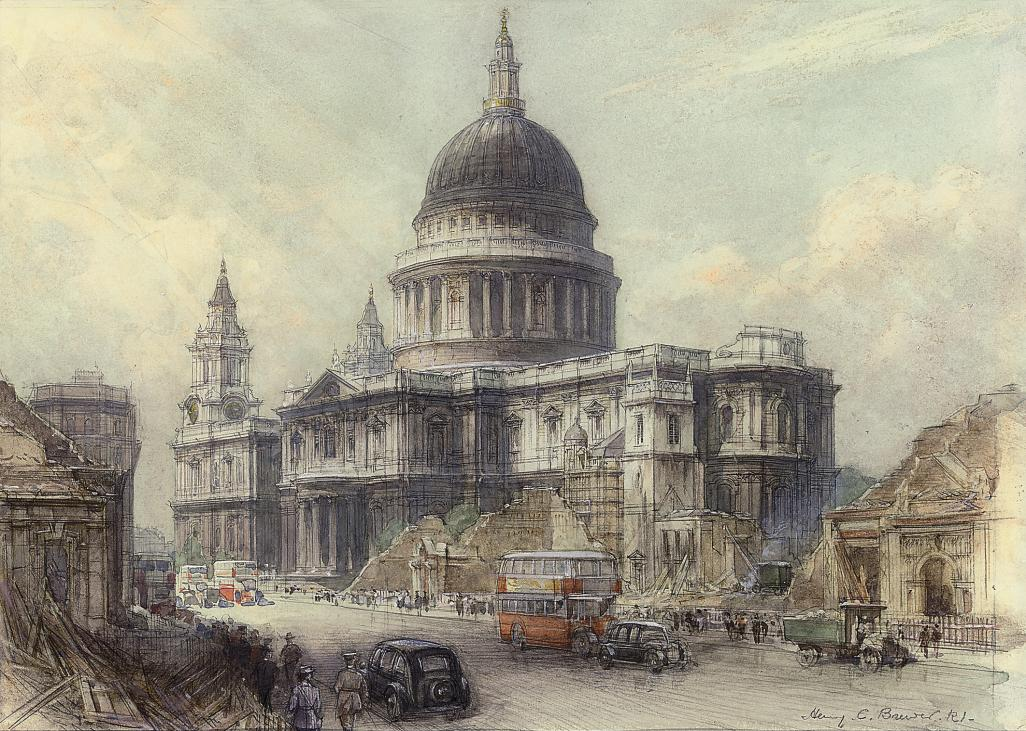 St Paul's Cathedral observed from between Bread St and Victoria St during the Second World War