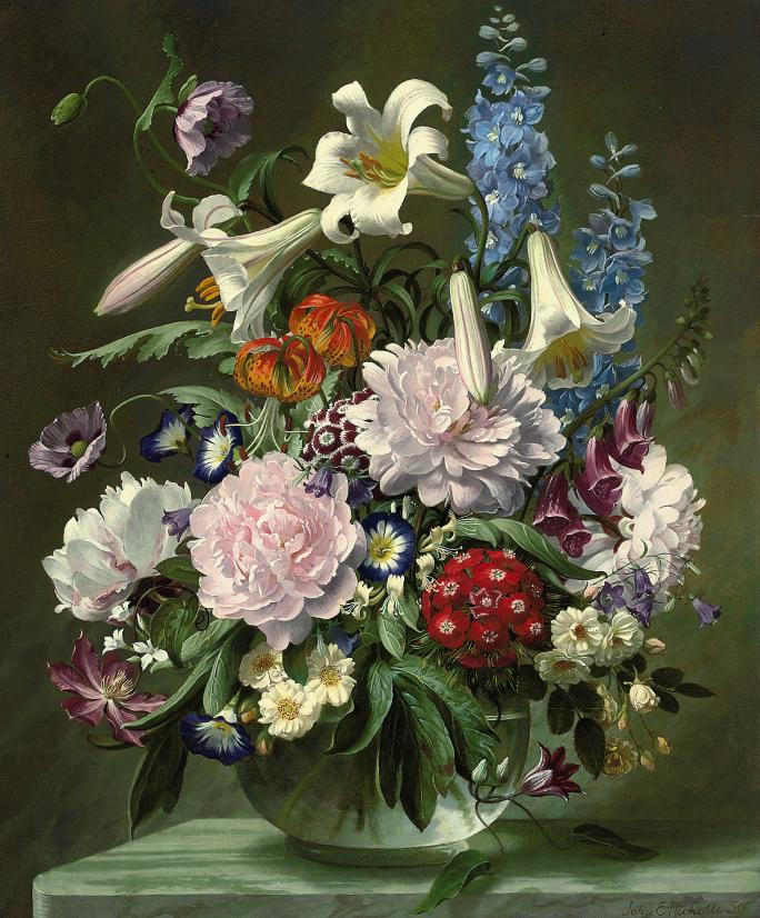Lilies, peonies, poppies, morning glories, fox gloves and other flowers in a glass vase, on a ledge