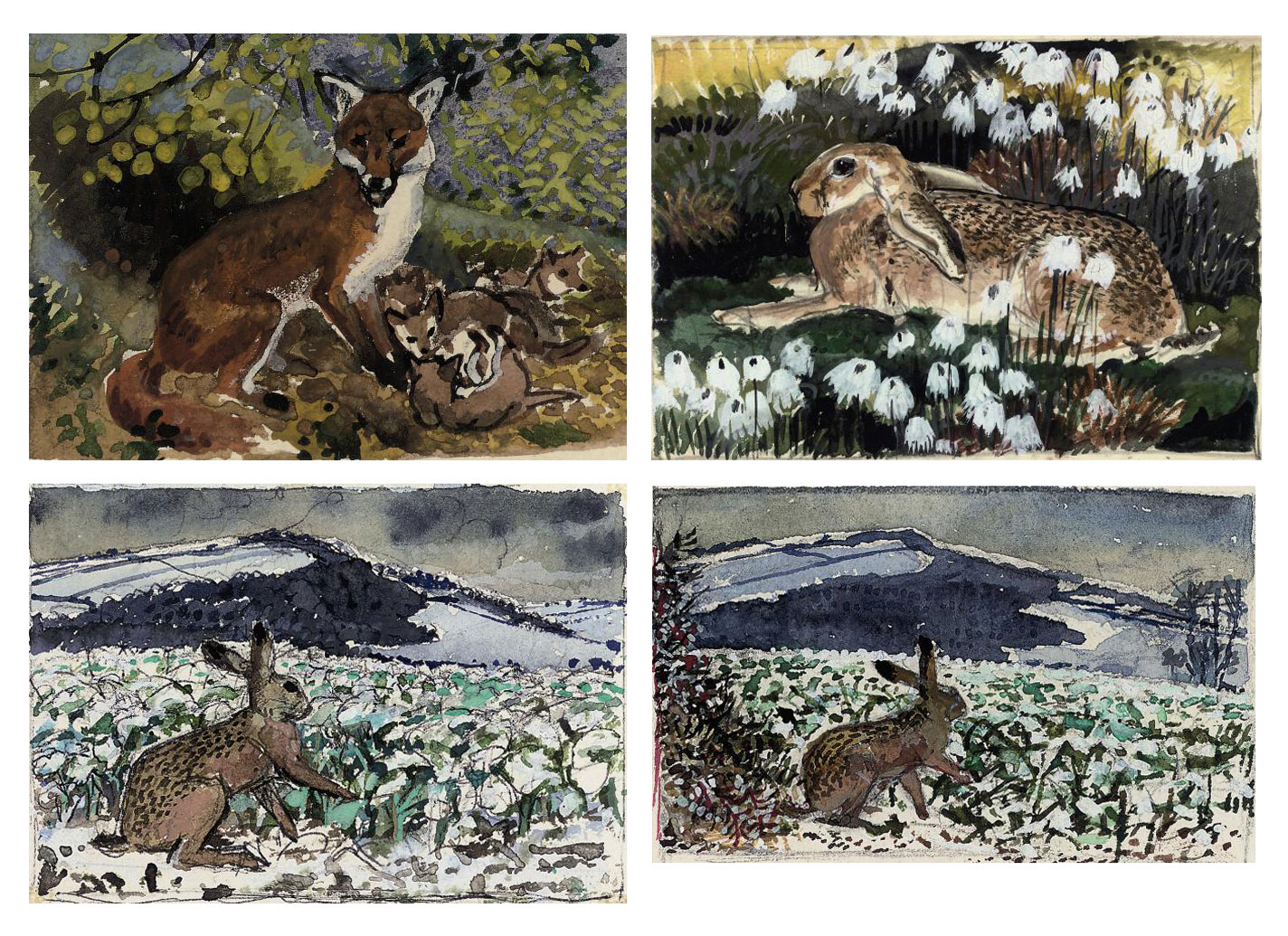 Hare; Fox and cubs; and Six further hare studies