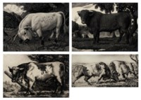 A collection of Prize bull etchings and woodcuts; The Chartley Bull; Shorthorn bull; The pasture gate; The Cheshire plain; Fighting bulls and The thief