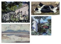 Sheep-shearing; Truck driving through a gate; View from Shorelands; Border collies; Book jacket design; Snowdon from Nant Gwynant; Red Wharf Bay; Nan Gwynant; Yacht; Bull; Cattle; and Cow studies