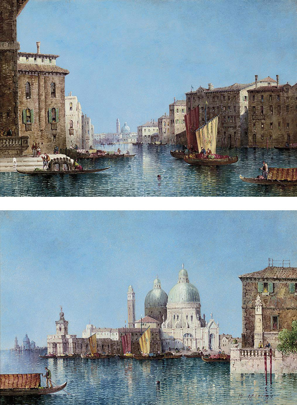 Santa Maria della Salute from the Bacino; and The Grand Canal, Venice